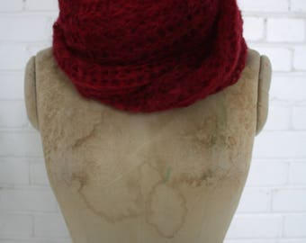 Long Burgundy mohair scarf