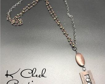 Pendant necklace, Pendant jewelry, Vintage necklace, Vintage jewelry, 42 in long necklace, Metal chain necklace, Lightweight necklace