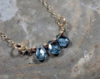 London Blue Topaz Gold Necklace Faceted Briolette Gemstone