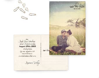 "Wedding save the date postcards, 4x6, Postcard save the dates, Vintage rustic wedding stationery - the ""Marissa 5"""