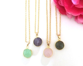 gemstone jewelry - necklace and earrings - bohemian jewelry accessory - natural stone jewelry gift set - women's gift - gold plated set