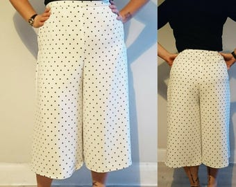 Handmade High Waisted Vintage Style Cream with Black Polkadot Culottes