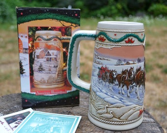 1996 Holiday Budweiser Stein with Box