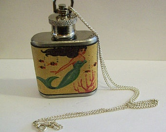 mermaid flask necklace retro vintage nautical pin up rockabilly kitsch