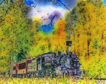 "Digital Watercolor Fine Art ""Thunder Up the Valley"" A Digital Steam Engine Train Watercolor Fine Art Print"