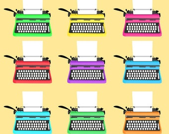 Retro Typewriters Clip Art Set, Paper, Various, Color, Illustration, PNG