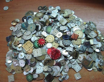 MEGA lot of 1,000 vintage WATCH FACES steampunk supplies cufflinks altered art