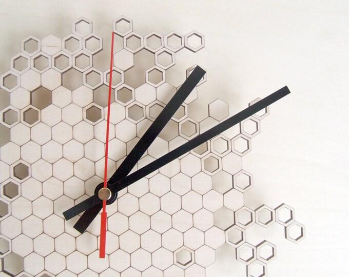 Honeycomb Original Wall Clock (small) - wooden wall clock