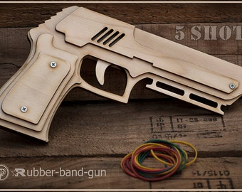 Coworker Gift, Gift For Him Wooden Rubber band Gun Shoots 5 Rubber Bands. Husband Gift, Boss, Father. Men's Office Toy Gift For Him, Dads