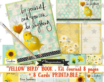 Digital book * yellow bird * Canary flowered Book Journal Kit paper map collage clipart vintage digital scrapbooking