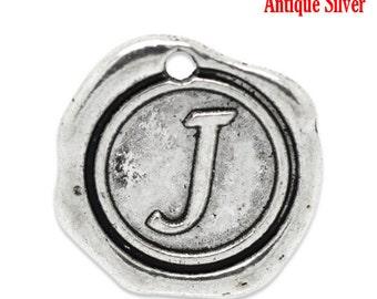 """5pcs. Antique Silver LARGE Letter """"J"""" Alphabet Letter - 18mm x18mm - Wax Design"""