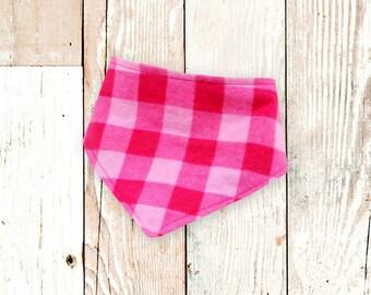 Baby Bandana Drool Bib (Pink Check Plaid Flannel)     bibdana, baby shower gift, drool bib, dribble bib, drool bandana, special needs bib