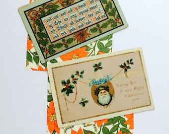 Antique Vintage Christmas Postcards, Holiday New Year 1910s • Saint Nicholas, Santa Claus, Calligraphy, Poinsettia, California Pennsylvania