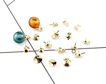 10PCS Gold Plated filled caps for pearls/Glass Globe -Cap with loop for half drilled beads Diy Jewelry Finding