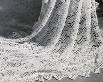 Shetland Isles Shawl with VanDyke Lace Border Vintage Pattern PDF / Knitted women's shawl / Antique shawl pattern / wedding shawl