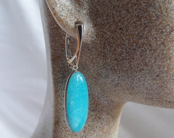 Smithsonite Sterling Silver Earrings Simple Elegant Drop Earrings Aqua Blue Gemstone Bezel Set Gemstone Earrings