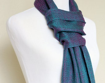 Gift for him, luxury scarf, woven scarf in teal and purple colors, long scarf with fringe, gift for her