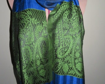 Royal Blue and Green Lace/Paisley Cashmere Scarf