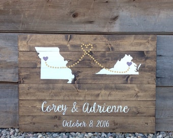 Rustic Wood, Rustic Guest Book, Wood Guest Book, Personalized, Guest book Sign, Guest Book With states,hearts, names and date,