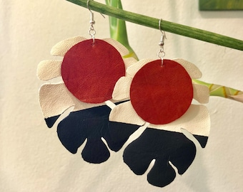 Lightweight, large, handcut and painted leather earrings (white, black and carnelian)