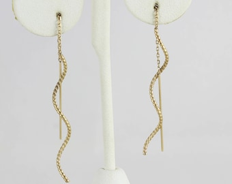 14k Yellow Gold Threader Earrings Spiral Dangle Drop Earrings