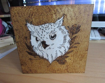 Woodburned Owl trivet
