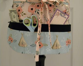 Teacher Aprons-Crafter Vendor Utility Apron-Teepee and Rose