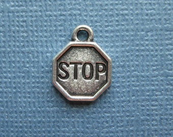 6 Stop Sign Charms - Stop Sign Pendants - Stop Charms - Stop Sign- Antique Silver - 12mm x 15mm -- (L1-12208)