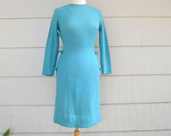 Vintage Stacy Ames Wool Dress, Turquoise Long Sleeve Dress, Bow Accents, Winter Dress, circa 1960s
