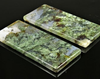 Moss Agate Earring Pair Pendants - 49.5mm x 21mm x 3mm - one pair - B6264