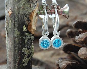 Blue Topaz Hoops, Silver Hoop Earrings, 925 Earrings, Topaz Drops, Silver Gemstone Hoops, Blue Gemstone, Gift For Her, November Birthstone
