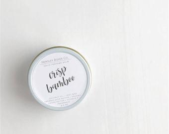 Crisp Bamboo Solid Perfume Balm- fragrance - scent-moisturizer- coconut oil- cocoa oil- vitamin e- shea butter- beeswax-salve-Christmas gift