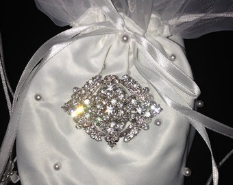 Wedding Dance Bag, Bridal Money Bag, Vintage Style Purse, Wedding Purse, Prom Purse, White Money Bag