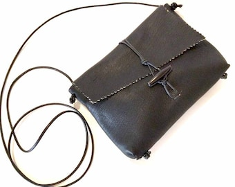 Black Deerskin Cross Body Handbag Lined in Suede