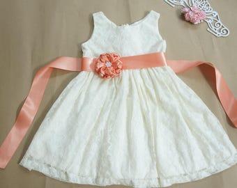 Ivory and peach flower girl dress Ivory flower girl dress Flower girl dress lace Rustic flower girl dress Country flower girl dress