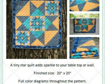 Modern Mini Star Quilt Pattern by Curlicue Creations Quilting Pattern Miniature Size Quilt Pattern