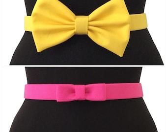 Cotton Bow Belts  | 6 COLORS | 2 STYLES | Yellow Belt | Pink Belt | Bow Belt | Colorful Belt | Elastic Belt