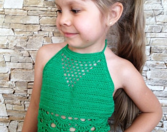 Green crochet toddler top Beach clothing kids Open back crop top Boho wrap bikini top Crocheted lace toddler baby top High neck halter top