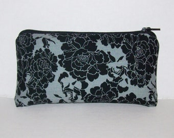 """Padded Pipe Pouch, Dark Floral, Glass Pipes, Pipe Case, Pipe Bag, Black Flowers Bag, Stoner Girl, Zipper Pouch, Weed Accessory - 5.5"""" SMALL"""