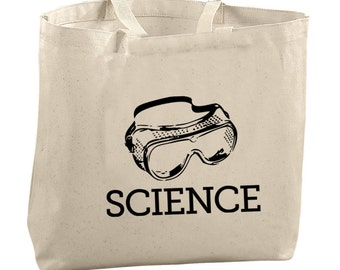 Science Goggles Tote Bag Beach Bags Canvas Tote Bag Reusable Grocery Bag Tote Gifts for Teachers College Student Bag Scientist Gifts