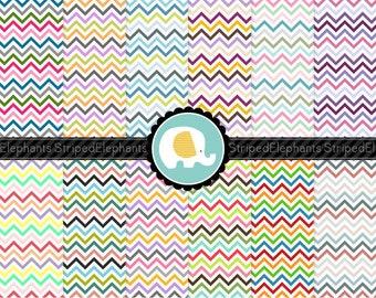 Multi Colored Chevron Digital Paper, zigzag digital scrapbook paper, chevron digital background, digi scrap, Commercial Use