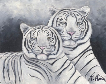 White tigers, 8x10 original oil painting, art & collectibles, paintings, cats, fine art, earthspalette