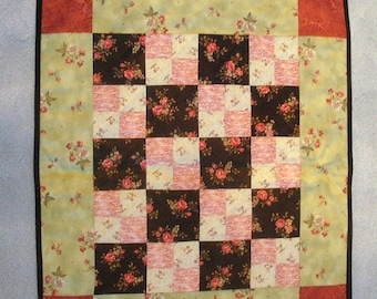Green, pink, rosy red wallhanging