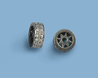 Diamond rondel spacer bead 925 Sterling Silver 8mm, Double Row
