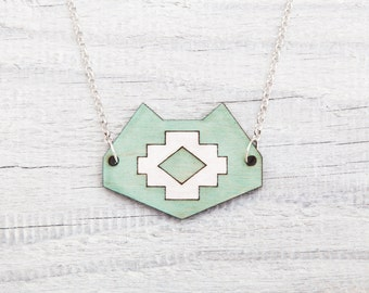 Tribal Cat Necklace, Mint Pendant, Cat Lover Gift, Wooden Geometric Jewelry, Girlfriend Gift, Native Necklace