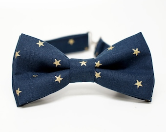Gold Metallic Star On Navy Bow Tie for all ages - Pre-tied bowtie - ring bearer, wedding day, photo prop, church, party, holiday