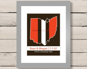 Cleveland Browns Helmet Map Art, Browns Engagement Art, Gift for Him, First Anniversary Gift, Personalized Wedding Gift, Engagement Gift