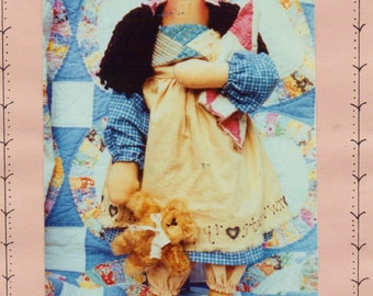 Trudy & Her Teddy 20 Inch Tall Primitive Fabric Doll Pattern by Homespun at Heart Designs UnCut Rag Doll Patterns