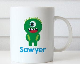 Monster Mug - Child's Mug - Green Monster Mug Personalized with Child's Name (Plastic)