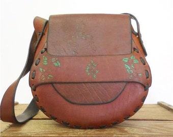 Vintage Handmade Tooled Leather 1970s Bible Verse Religious Gift Saddle Bag Purse
